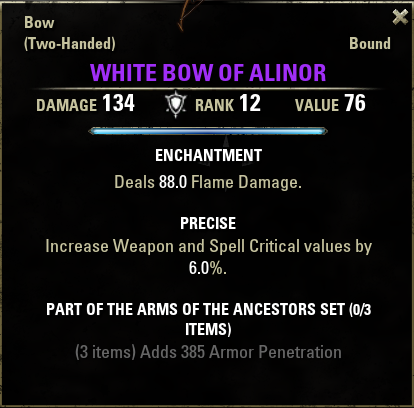 Arms of the Ancestors Set - White Bow of Alinor(V12).png