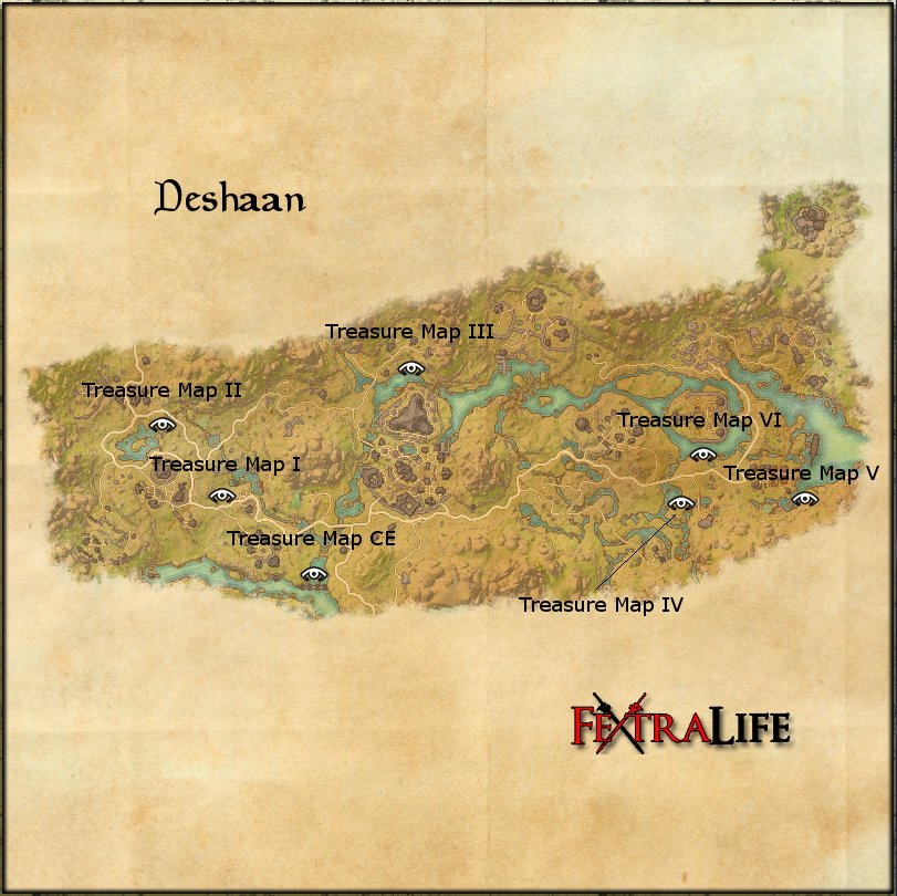 Deshaan Treasure Map I | Elder Scrolls Online Wiki on the rift ce treasure map, khenarthi's roost treasure map, stormhaven ce treasure map, bleakrock treasure map, auridon treasure map,