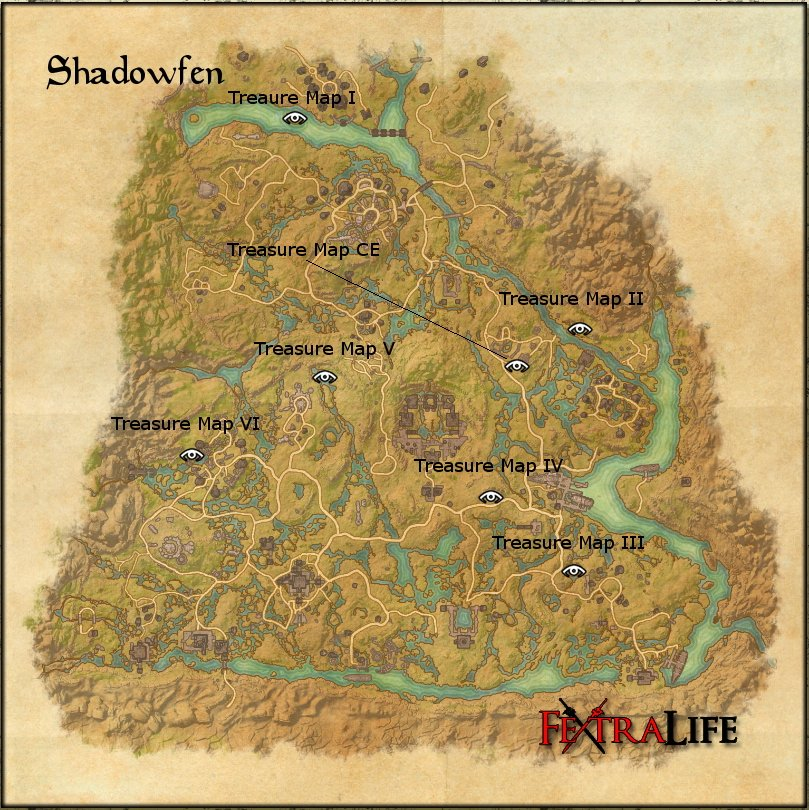 Shadowfen CE Treasure Map | Elder Scrolls Online Wiki on green shade treasure map, the rift ce treasure map, eso stone falls ce treasure map, deshann eso ce treasure map,