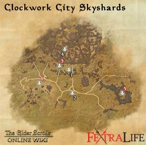 Clockwork City Skyshards Guide Map + Dungeons, Crafting Stations ...